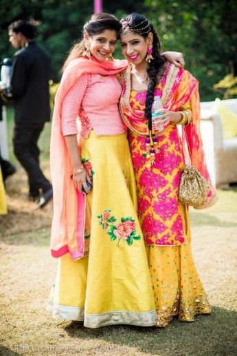 yellow and pink floral lehenga