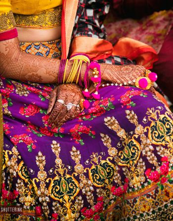 Purple quirky mehendi lehenga