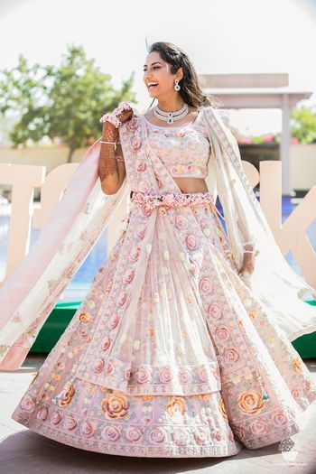 Beautiful pastel pink and white lehenga for mehendi