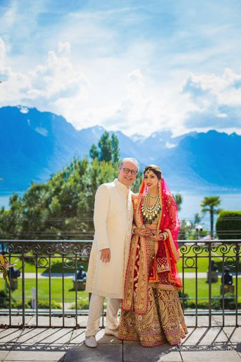 Photo of Bride with her father in Switzerland