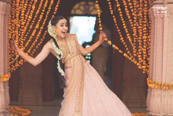 Photo of pink chikan work lehenga