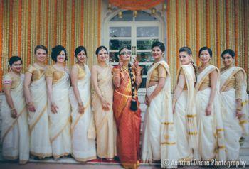 Cute bride and bridesmaid photo South Indian wedding