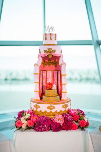 Unique Wedding Cake Design in Pink with Flowers