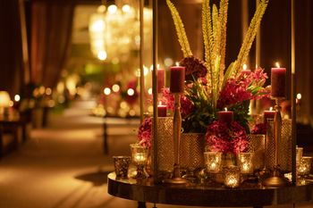Photo of glam cocktail idea with candles and flowers