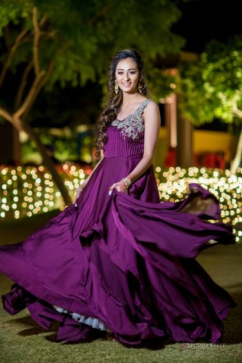 sister of bride or groom outfit purple gown