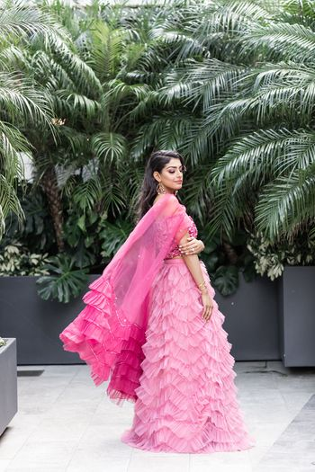 Light pink ruffled lehenga for mehendi