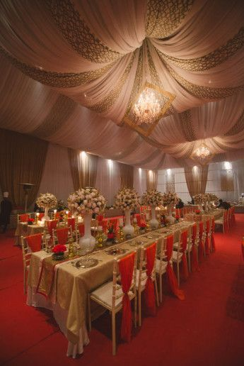 red and gold seating