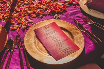 Photo of Menu on gold plate at Indian wedding
