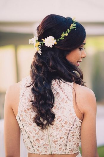 Soft curls with hair wreath on engagement