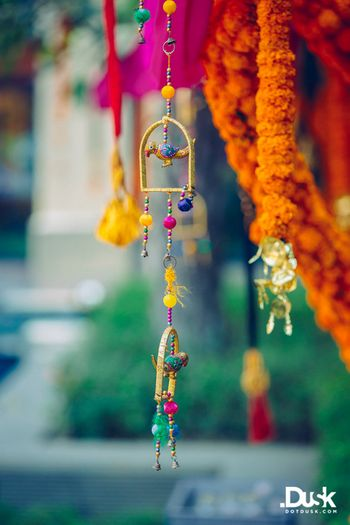 Hangings with windchimes and birds