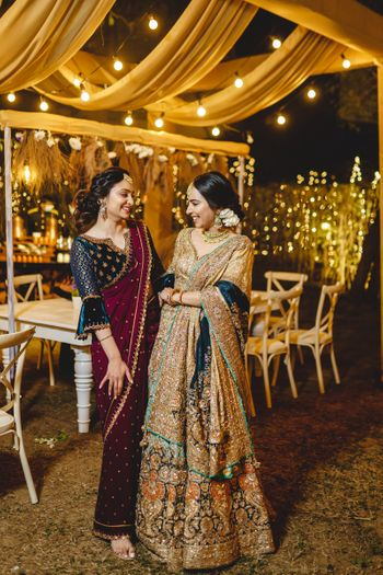 Bride with her sister on Sangeet