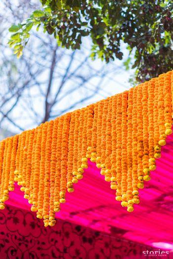Entrance decor idea with marigolds