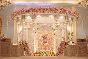 Photo of grand gold south indian mandap decor idea
