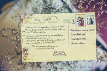 Destination wedding idea with postcard itinerary