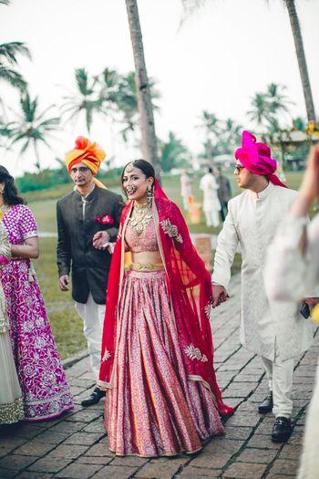 Minimal simple benarasi red bridal lehenga