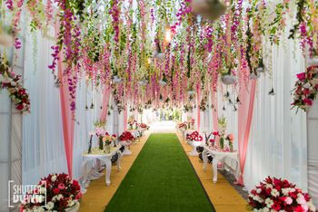 Entrance decor with hanging floral strings