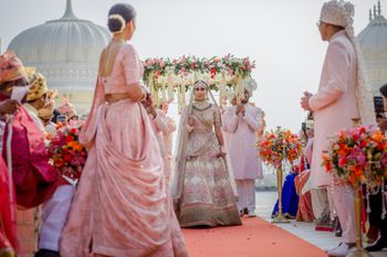 Gorgeous bridal entry with phoolon ki chaadar