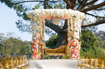 Photo of Peach and white floral mandap