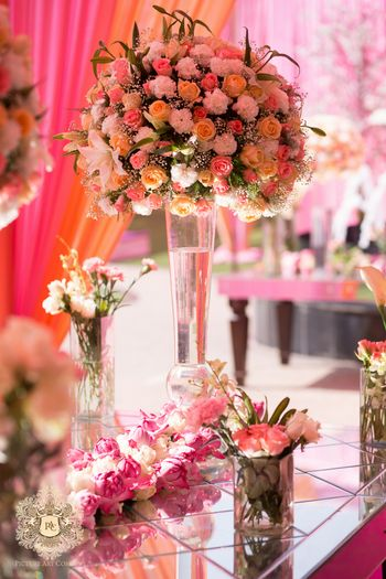 Photo of Pink and peach floral arrangement
