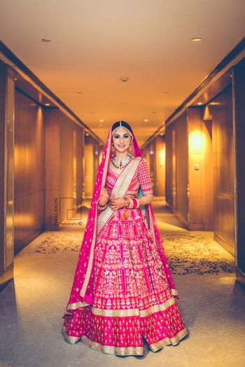 Photo of Anita Dongre bright pink gota patti lehenga