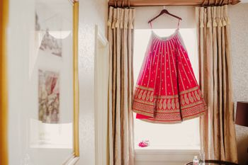 Photo of Bridal lehenga on a hanger