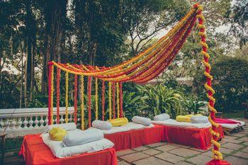 Marigold decor at south indian wedding