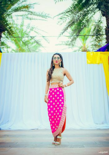 Fuschia pink straight skirt and crop top for mehendi