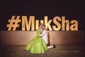 Personalised mehendi photobooth with giant hashtag
