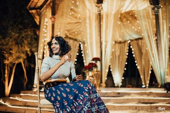 Bride in blue lehenga for her sangeet