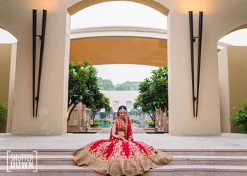 Photo of Bridal portrait with flared lehenga