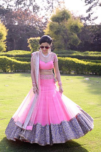 light pink and blue and gold lehenga