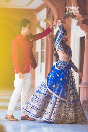Photo of royal blue lehenga