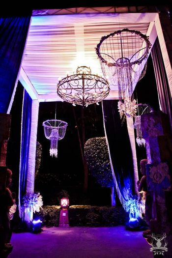 Photo of night entrance decor to farmhouse