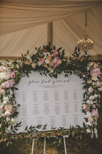 Photo of Seating chart with floral arrangements