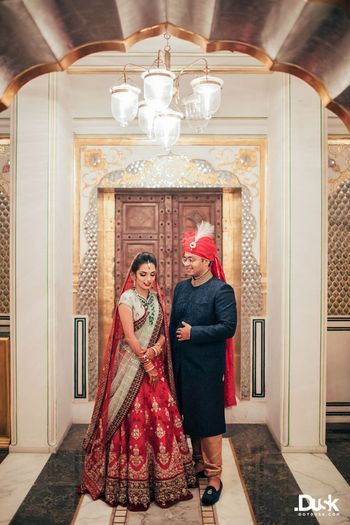 Wedding Photoshoot & Poses Photo blue and red lehenga