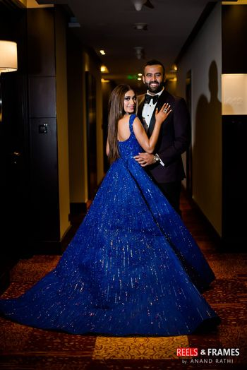 Photo of Royal blue sleeveless ball gown for reception or cocktail