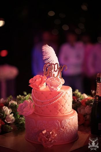 White two tier cake with feathers on it