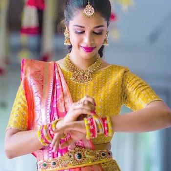 Photo of South Indian bride with temple jewellery and waist belt