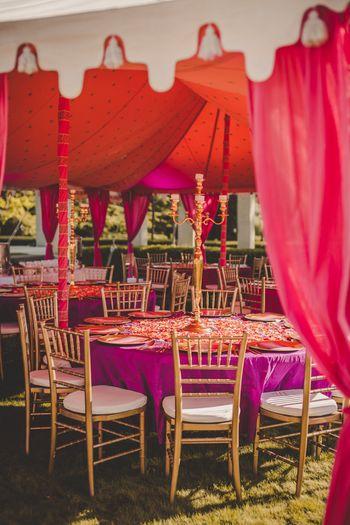 Photo of Purple and orange moroccan themed decor