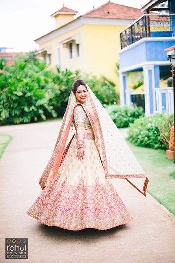 Photo of white and pink lehenga