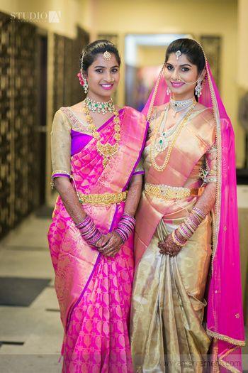Photo of Kanjivaram saree in gold and blush pink