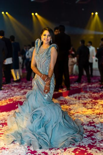 Silver gaurav Gupta gown for sangeet