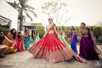 Photo of Red bridal lehenga with green dupatta