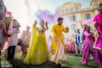 Photo of Mehendi holi party shot while couple enters