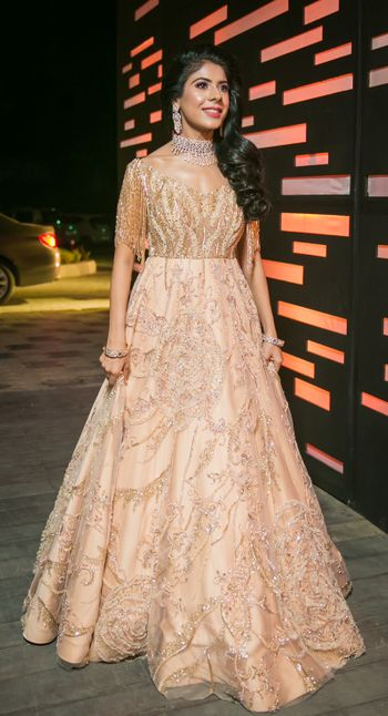 Sangeet outfit off shoulder gown in peach