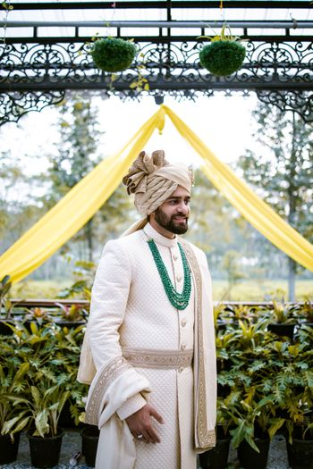 Off-white sherwani for grooms
