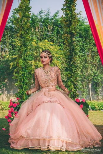 Light pink lehenga on engagement