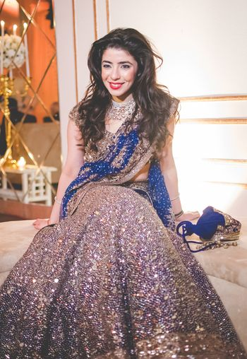 Photo of blue engagement lehenga