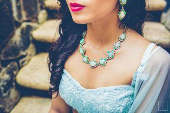 Photo of Enamel turquoise necklace for engagement with mint lehenga