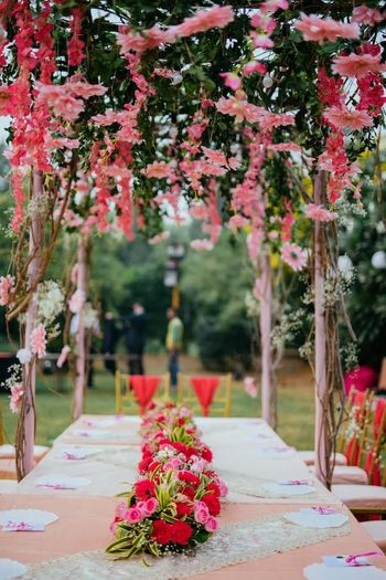 Photo of Long table floral setting for intimate brunch